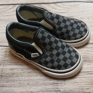 Toddler Gray Checkered Vans Slip On